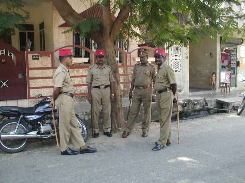 Police in Karaikal,   	with French caps - képi rouge